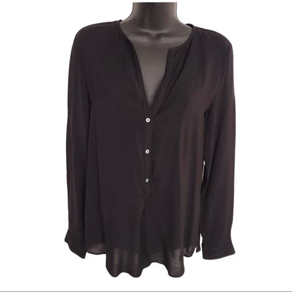 Zara Black Relaxed Fit Long Sleeve Women's M